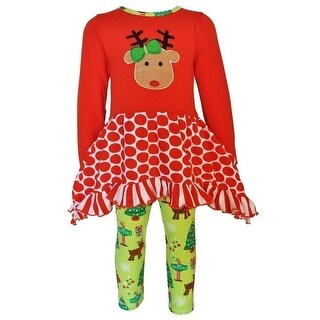 AnnLoren Little Girls Red  Christmas Reindeer Tunic Holiday Legging Set