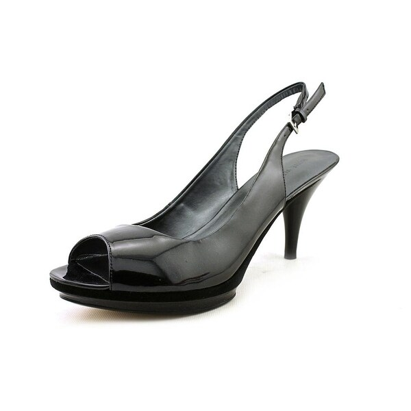 7359105bbe1 Shop Nine West Sharina Women Peep-Toe Synthetic Black Slingback Heel ...