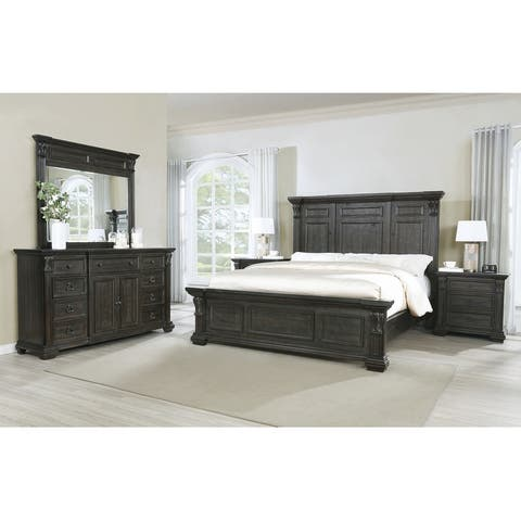 Farson Distressed Dark Walnut Finish Wood Panel Bed, Dresser, Mirror, Two Nightstands