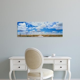 Easy Art Prints Panoramic Images's 'Fence in a field, New Mexico, USA' Premium Canvas Art