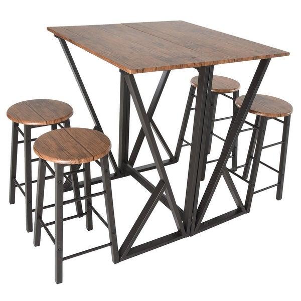 Pub Dinette Sets 5 Piece: Shop Zenvida 5 Piece Pub Dining Set Drop Leaf Bar Height