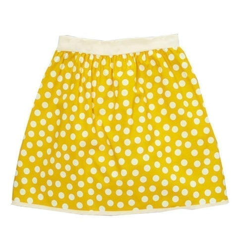 Girls Yellow Ivory Polka Dotted Pattern All Over Cotton Skirt 7-10