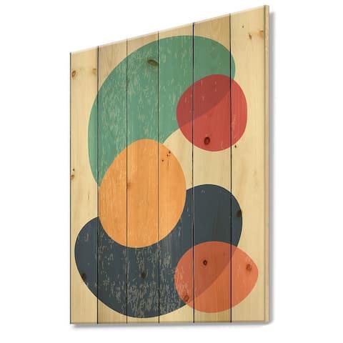 Designart 'Minimal Elementary Organic And Geometric Compostions XXIV' Modern Print on Natural Pine Wood