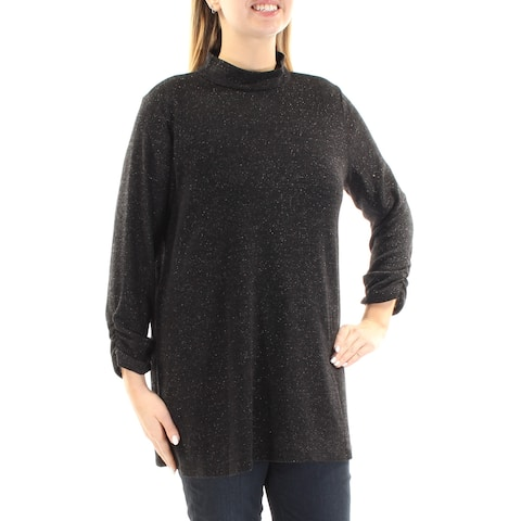 ALFANI Womens Black Ruched Metallic 3/4 Sleeve Turtle Neck Sweater Size: L
