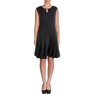 Nic + Zoe Womens Faux Leather Trim Keyhole Wear to Work Dress