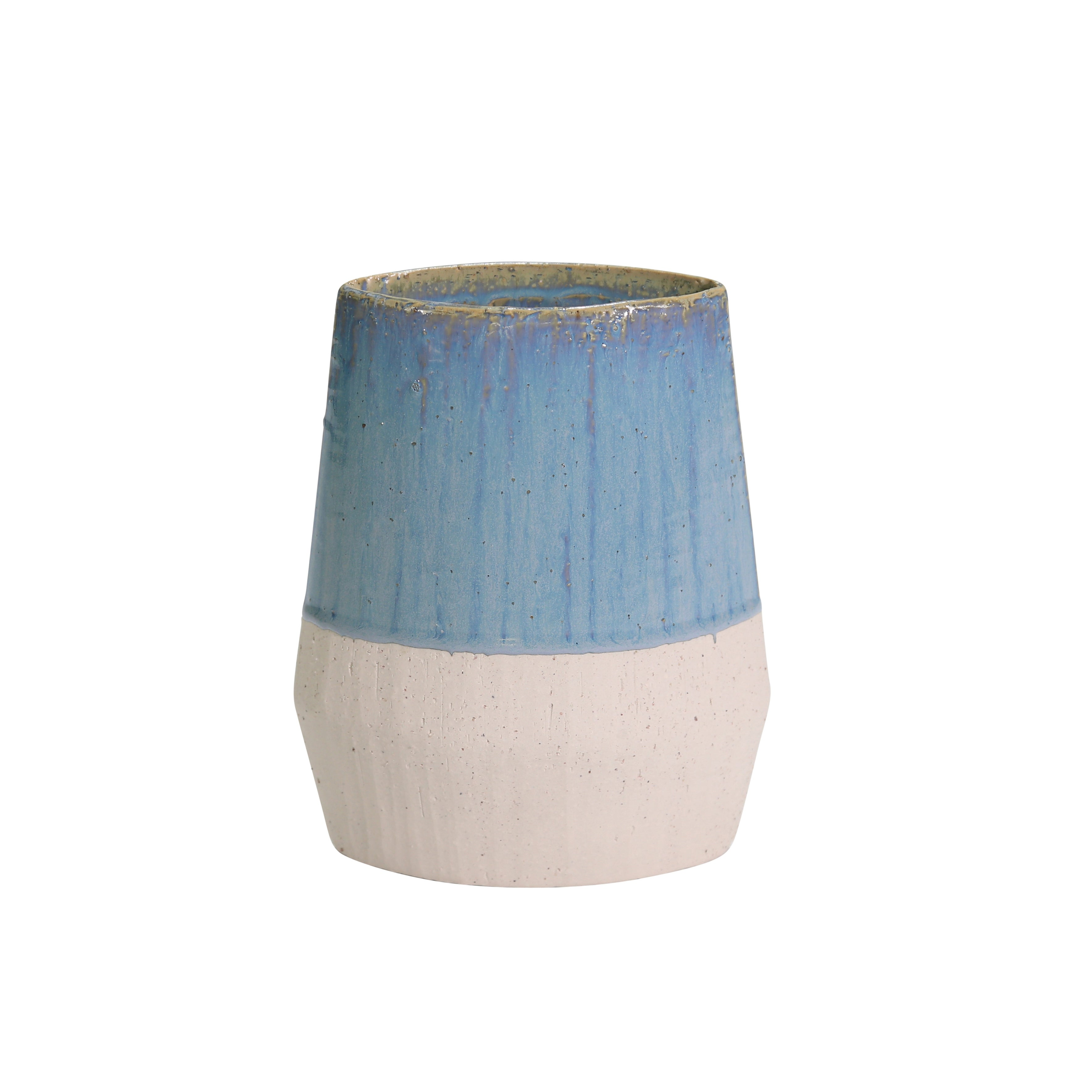 Dual Tone Decorative Ceramic Vase with Cylindrical Shape, Small, Blue and White