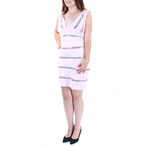 BCX Womens Pink Sequined Striped Sleeveless V Neck Above The Knee Body Con Dress Size: M