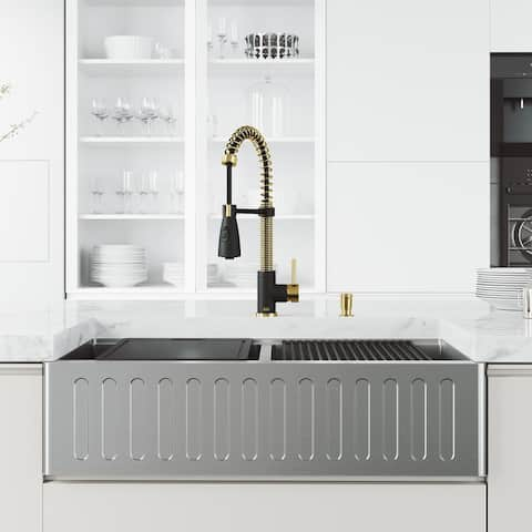 VIGO 36 in. Apron Front Double Bowl Stainless Steel Farmhouse Kitchen Sink and Faucet in Matte Brushed Gold and Matte Black