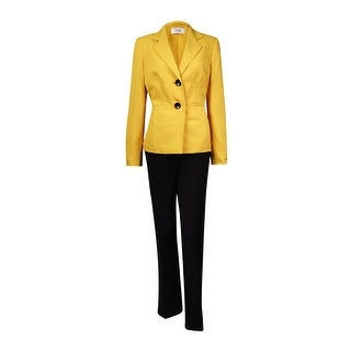 Le Suit Women's Monte Carlo 2-Button Pant Suit (16, Gold Leaf/Black) - gold leaf/black - 16