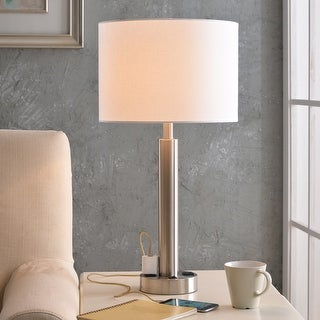 Link to Nora 27-inch Brushed Steel Table Lamp w/ 2 Outlets Similar Items in Table Lamps