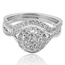 14K White Gold Bridal Wedding Set Halo Style 10mm Wide 0.88cttw 2pc (i2,i3, i/j)