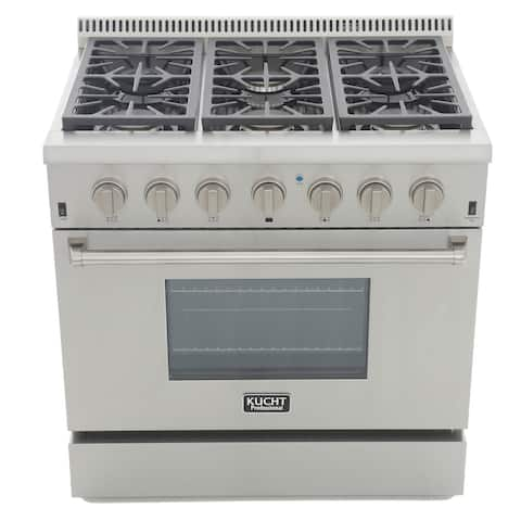 KUCHT Professional 36 in. 5.2 cu. ft. Propane Gas Range with Sealed Burners and Convection Oven in Stainless Steel