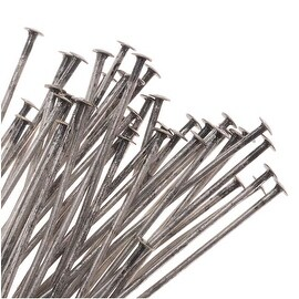 Antiqued Silver Plated Head Pins 2 Inches Long/22 Gauge (50)