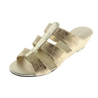 David Tate Womens Oley Metallic Leather Wedges