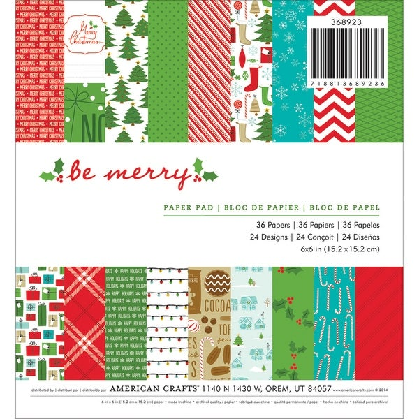 """American Crafts Single-Sided Paper Pad 6""""X6"""" 36/Pkg-Be Merry"""