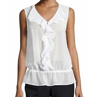 Laundry by Shelli Segal NEW White Sheer Ruffled Women 2 Tank Cami Top