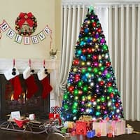 Costway 7Ft Fiber Optic Artificial Christmas Tree w/275 Multi-color LED Lights and Stand - Green