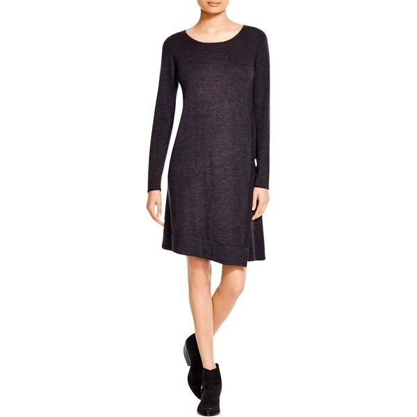 Eileen Fisher Womens Petites Sweaterdress Merino Wool Jewel Neck