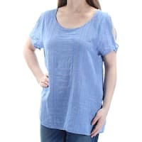 VINCE CAMUTO Womens Blue Textured Short Sleeve Scoop Neck Top  Size: S
