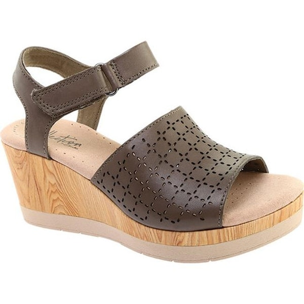 35a2fadafd6 Clarks Women  x27 s Cammy Glory Wedge Sandal Olive Perforated Leather