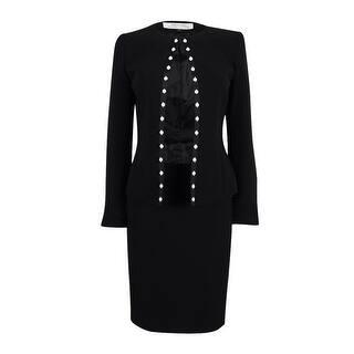 Tahari Women's Pearled Grosgrain-Trim Skirt Suit - Black|https://ak1.ostkcdn.com/images/products/is/images/direct/9444683250230fa661119e3ec396aabc458cddb7/Tahari-Women%27s-Pearled-Grosgrain-Trim-Skirt-Suit.jpg?impolicy=medium