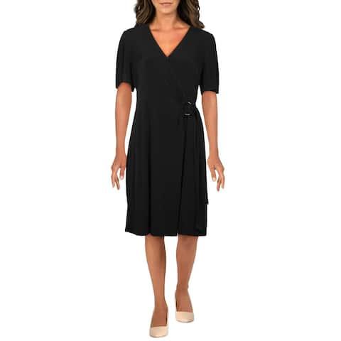 MICHAEL Michael Kors Womens Wrap Dress Faux-Wrap Short Sleeves - Black