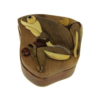 Hand Carved Wooden Tree Frog Trinket Puzzle Box - 2.5 X 4.5 X 4.5 inches