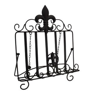 Rustic Brown Metal Fleur De Lis Cookbook Stand Weighted Easel