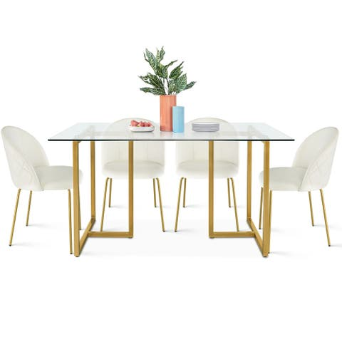 JILI modern dining set with 4 velvet chairs glass table for kitchen