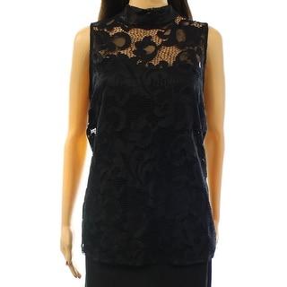 INC NEW Deep Black Women's Size XL Sleeveless Floral Lace Blouse Top
