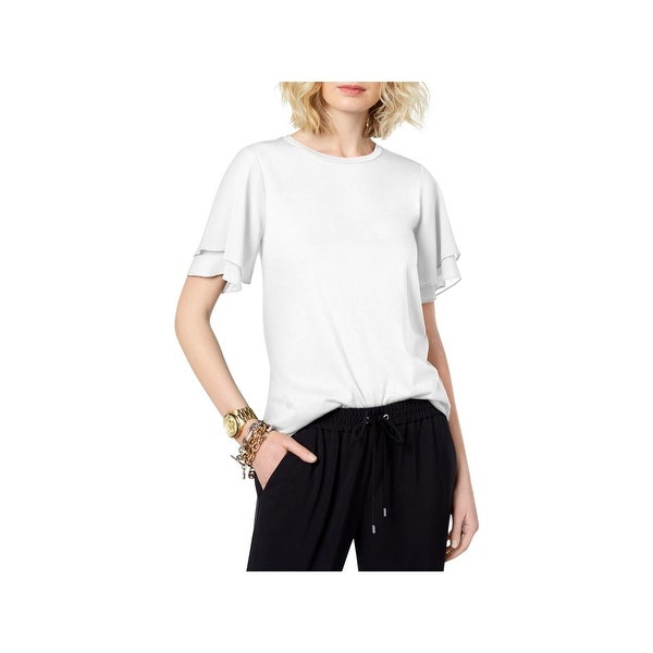 4ba6142313a5a2 Shop MICHAEL Michael Kors Womens T-Shirt Mixed Media Flutter Sleeves - L -  Free Shipping On Orders Over  45 - Overstock - 27998527