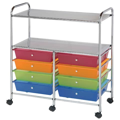 Alvin sc8mcdw-12-s storage cart 8-drawer (wide) with 2-shelf multi-colored