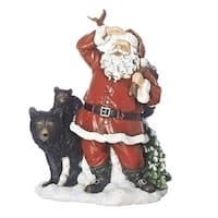 "Pack of 2 Red and Black Christmas Decorative Santa with Bear Figure 9.25"" - WHITE"