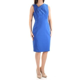 CALVIN KLEIN $124 Womens New 1039 Blue V Neck Sleeveless Sheath Dress 6 B+B