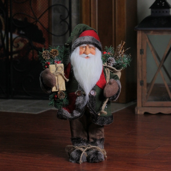 "16"" Country Rustic Standing Santa Claus Christmas Figure with Knitted Snowflake Jacket - brown"