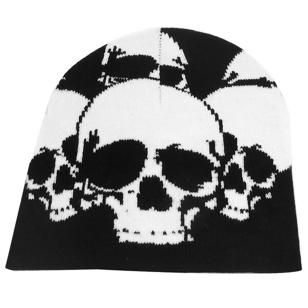 Unique Bargains Black White Skull Head Print Stretchy Kniting Warm Beanie Hat Cap for Men's Lady
