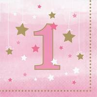 """Club Pack of 192 Pink and Gold One Little Star Girl Luncheon Napkins 5"""""""
