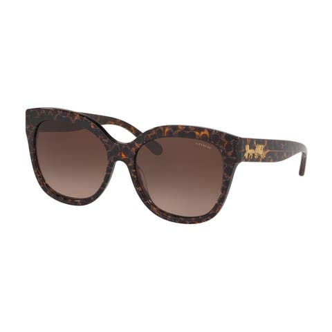 Coach HC8264F 557313 56 Tortoise With Pink Glitter Fac Woman Square Sunglasses