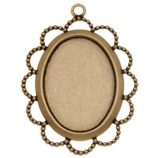Antiqued Brass Oval Bezel Pendant With Beaded Floral Edge 18x25mm (4)