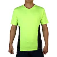 Polyester Short Sleeve Clothes Stretchy Badminton Tennis Sports T-shirt Green L
