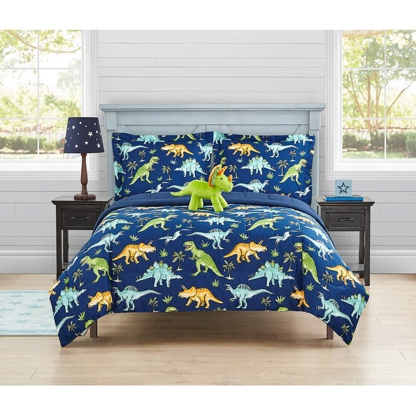 Watercolor Dinosaur 4- piece comforter set with decorative pillow. Opens flyout.