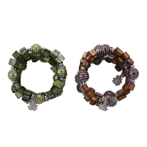 Stretch Bracelet Brown Shell Set of 2 Beaded Jewelry Gift For Women