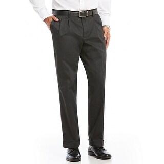 "Dockers Men's Relaxed Fit Comfort Khaki Flat Pants Charcoal Size 30""W x 32""L - Grey - 30x32"