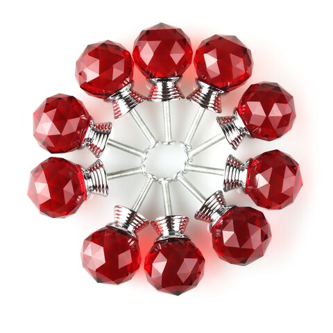 """1.18"""" Dia Crystal Glass Drawer Knobs Cabinet Pull Handle Round Red 10pcs"""