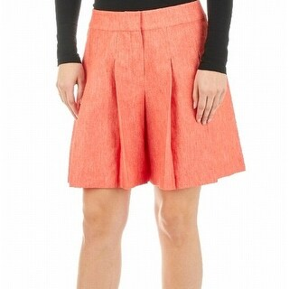 Nine West NEW Red Women's Size 10 Pleated Front-Tab Wide Solid Shorts