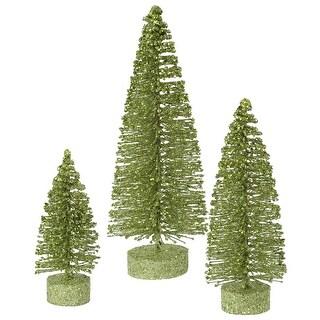 "5""-7""-9"" Lime Green Glit Oval Tree Set"