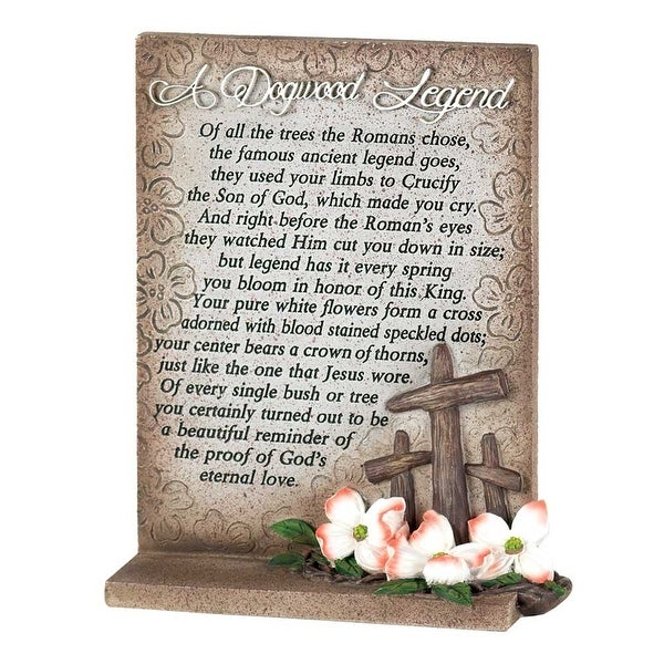 """6.5"""" White and Brown Religious Poem Quoted Tabletop Plaque - N/A"""
