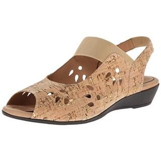 J. Renee Womens Abner Leather Peep-Toe Wedge Sandals