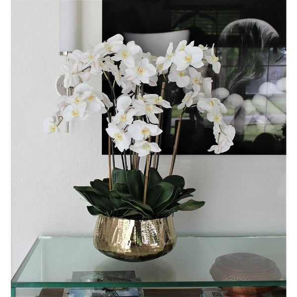 Phalaenopsis Orchids Floral Arrangement in Gold Planter. Opens flyout.