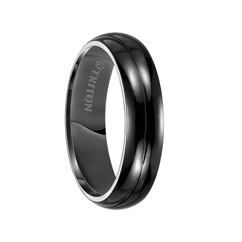 Two Tone Black Groove Mens Titanium Polished Finish Wedding Band Fashion Ring